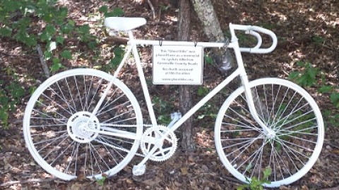 Spinners install new GHOST BIKE on Swamp Rabbit Trail