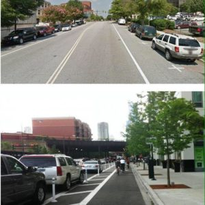 The top photo shows E. Broad St. between Falls St. and Main St. which is the perfect location for the city's first protected bike lane.  Simply move the parked cars away from the curb and add new paint and plastic as shown in the bottom photo. We are developing a plan to make this happen.  Step one is to educate people and grow the support, so please share!